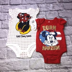 Baby Girl Disney Minnie Mouse Onesies NEW 3-6mo